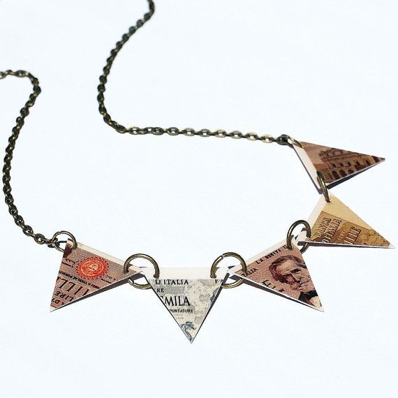 Triangle Bunting Necklace Italian Lira Found Object by Tanith, $28.00