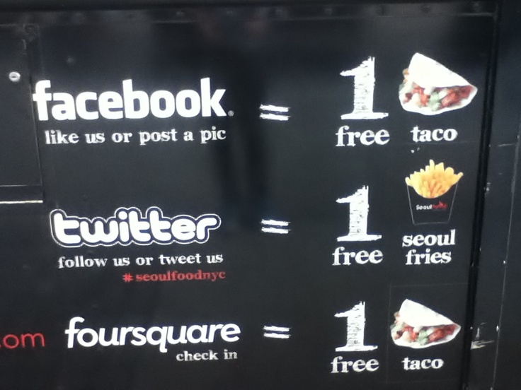 What a nice example of an outdoor social media promotion! It was on a food cart!