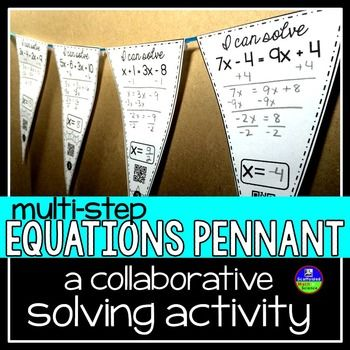 Multi-step equations. In this collaborative solving equations activity, students solve equations with variables on both sides of the equal sign.…