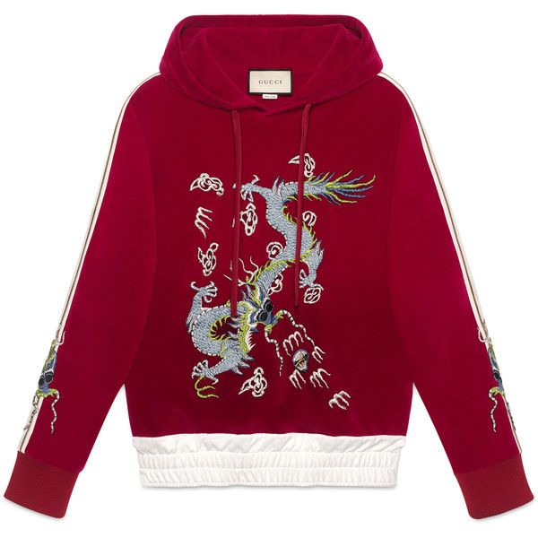 Gucci Velvet Sweatshirt With Dragon Appliqué ($1,715) ❤ liked on Polyvore featuring men's fashion, men's clothing, men's hoodies, men's sweatshirts, sweaters, gucci, hoodies, men, ready-to-wear and red