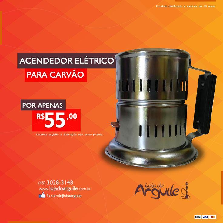 Acendedor Elétrico de Carvão  DE R$ 82,00 / POR R$ 55,00 Em até 13x de R$ 5,17 ou R$ 52,25 via depósito  Compre Online: http://www.lojadoarguile.com.br/acendedor-eletrico-de-carvao