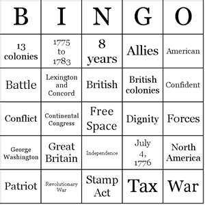 American Revolutionary War Bingo - good idea to use for test review.  After making cards, laminate to reuse from year to year.
