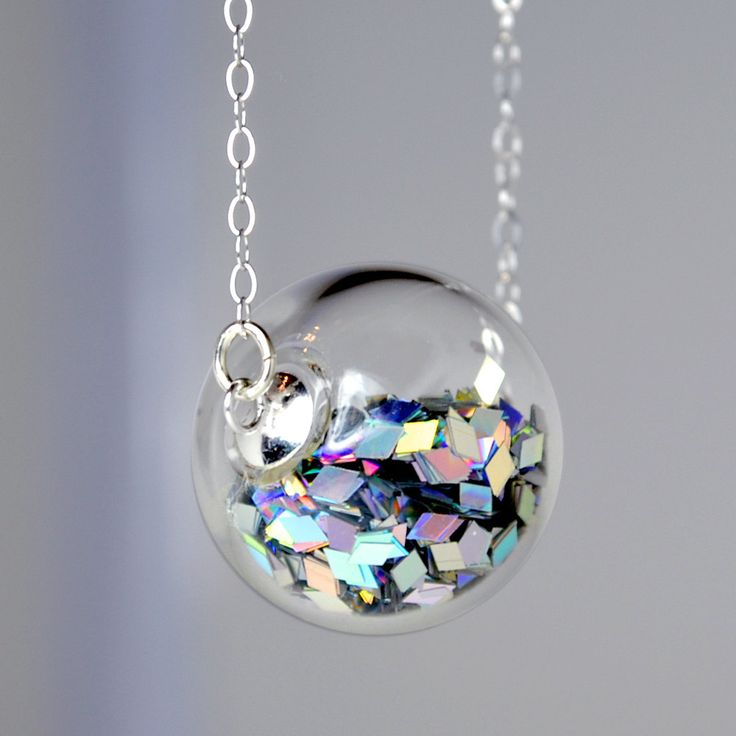 Prism glitter hand blown glass ball silver necklace.
