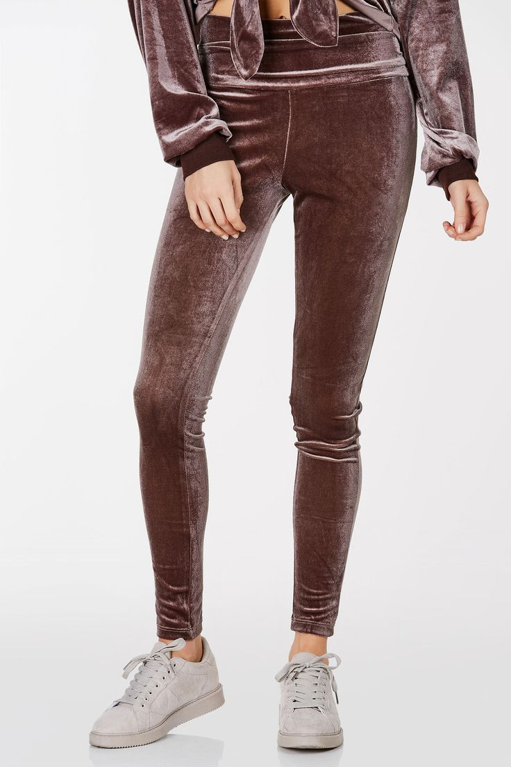 Come Up Velour Fold Over Leggings