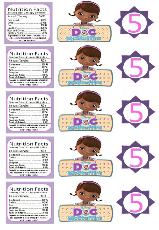 Doc McStuffins Birthday Party Labels  #diy #docmcstuffins #birthday