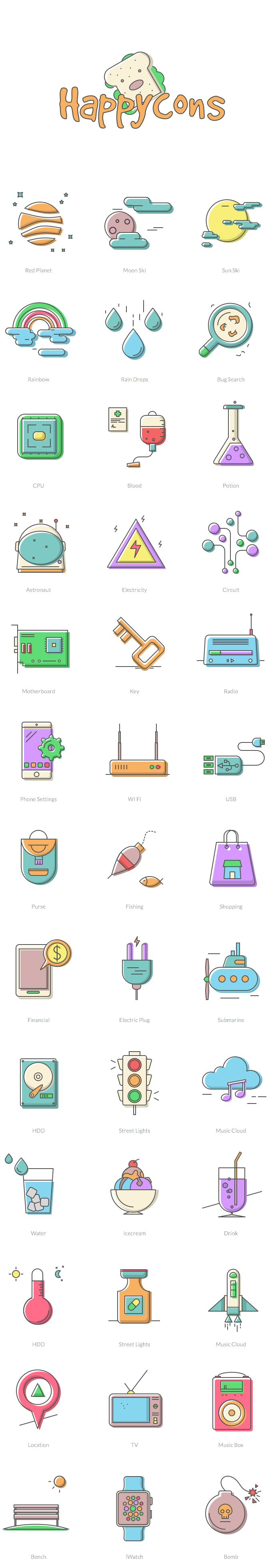 Free Download : Happycons – 40 happy and unique icons (AI, Sketch, PNG, SVG, EPS)