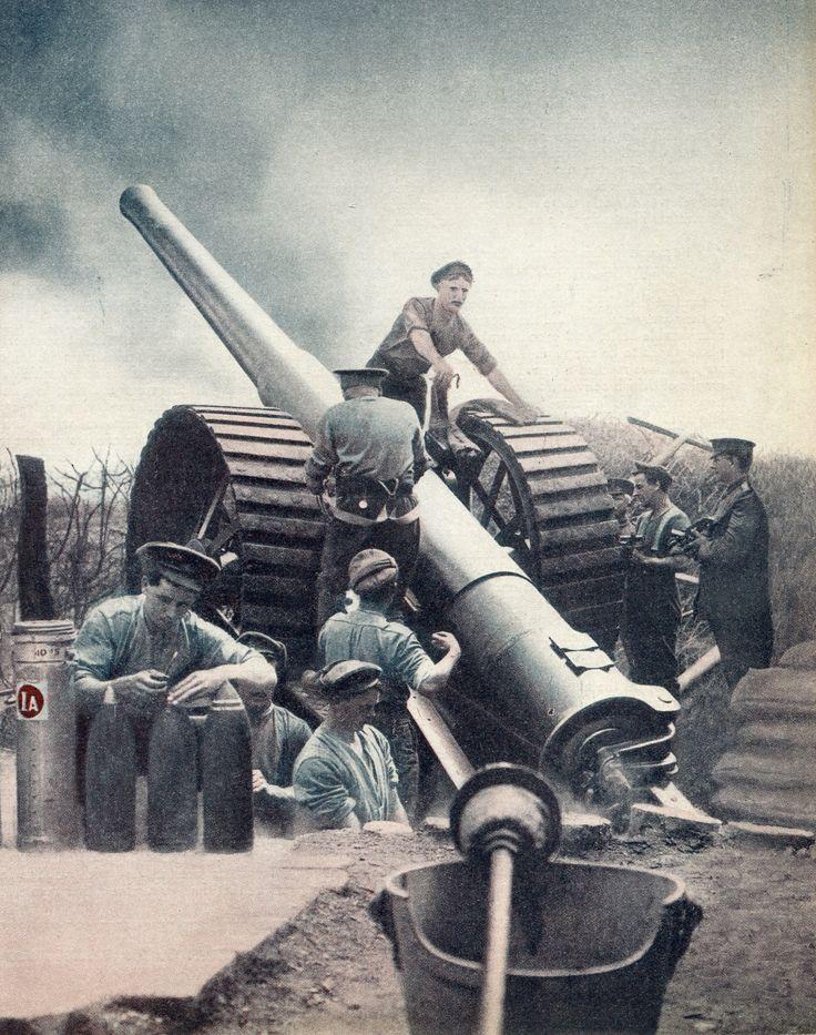 1916. Heavy artillery on the Somme, WW1. Source Paul Reed, Twitter, dropbox.