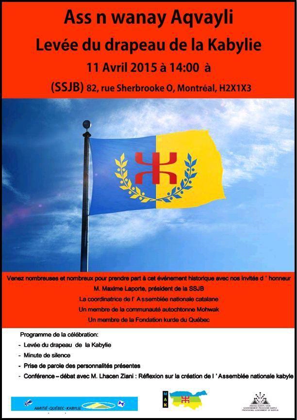 KABYLIE INDEPENDANCE : Au Canada, le lever du drapeau kabyle aura lieu le...