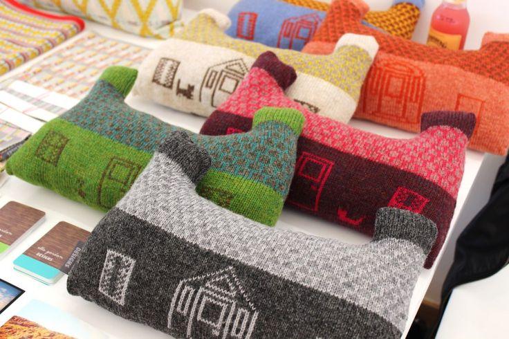 Crofthoose Cushions - made with manual knitting machine