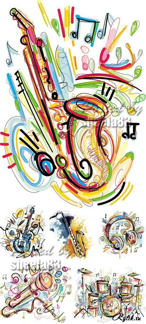 Музыкальные инструменты - векторные рисунки. Musical Instruments Vector