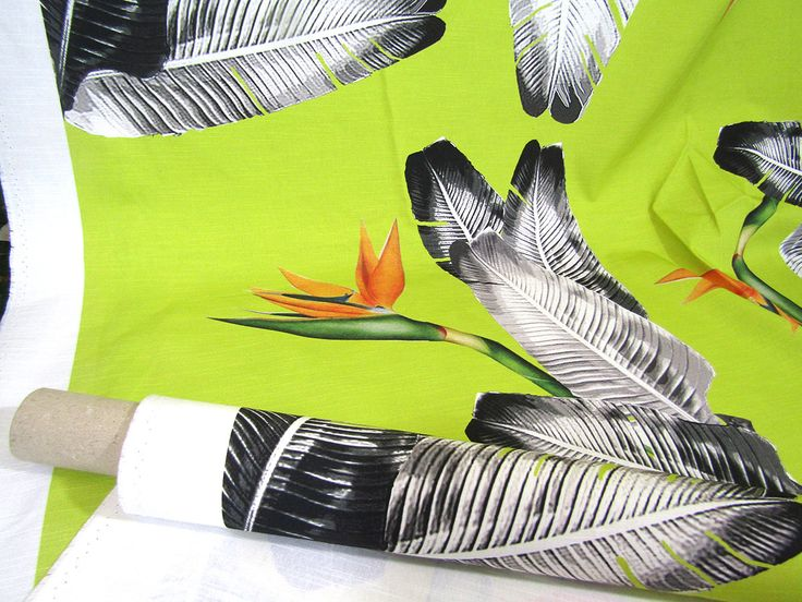 Cotton Fabric - Tropical print fabric  Giant Banana Leaves & Strelizia flower Very large pattern - Curtain Fabric Quilting fabric Upholstery
