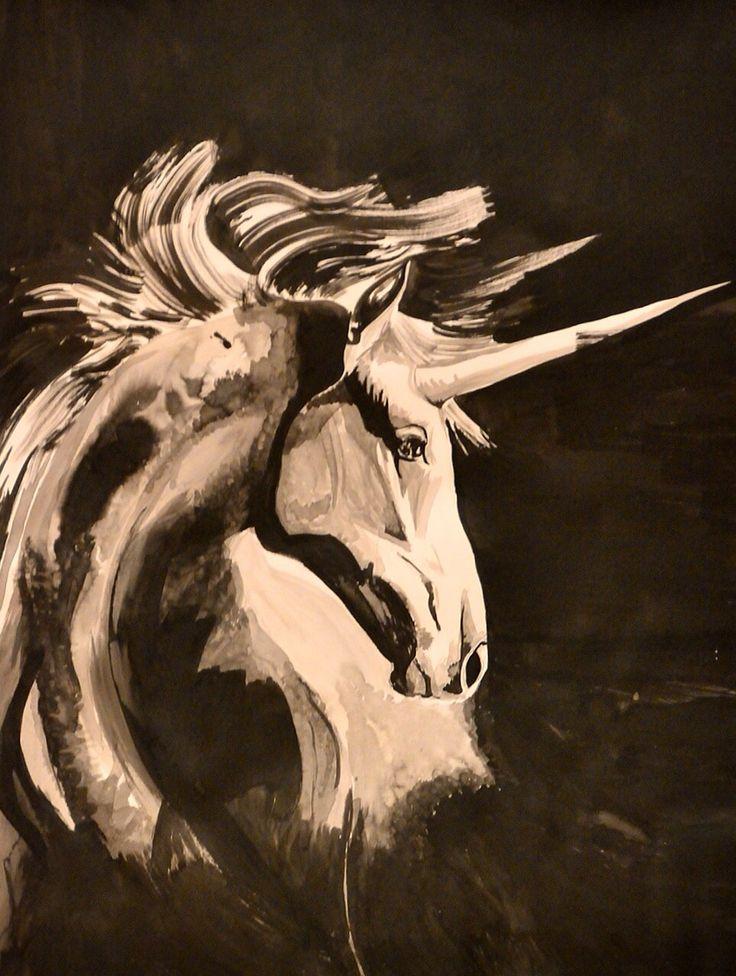 Encre de Chine #Licorne  #Cheval  #Dessin #peinture