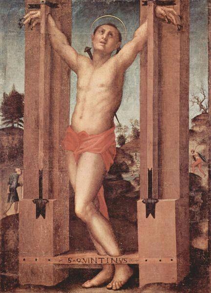 Pontormo (1494–1557) San Quintinus Date1517-1518Mediumoil on panelDimensions163 × 103 cm (64.2 × 40.6 in)Current locationPinacoteca Comunale, Sansepolcro