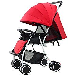 YK High-view Strollers Folding Infant Jogging Stroller, Anti-Shock Toddler Pushchair Lightweight, Perfect for 0-36 Months Baby to Sit & Lie Down (Red)