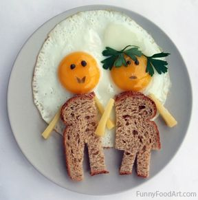 "Hilarious! Serve a ""couple"" of eggs to your honey for Valentine's breakfast. #kid #egg #funfood"