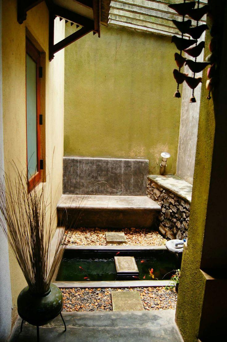 Indoor open area..Cement bench..custom made cement fish pond..