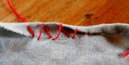 How to Sew a Rolled Hem by Hand--good hem or edging for doll clothes looks like when machine stitching is too fiddly.