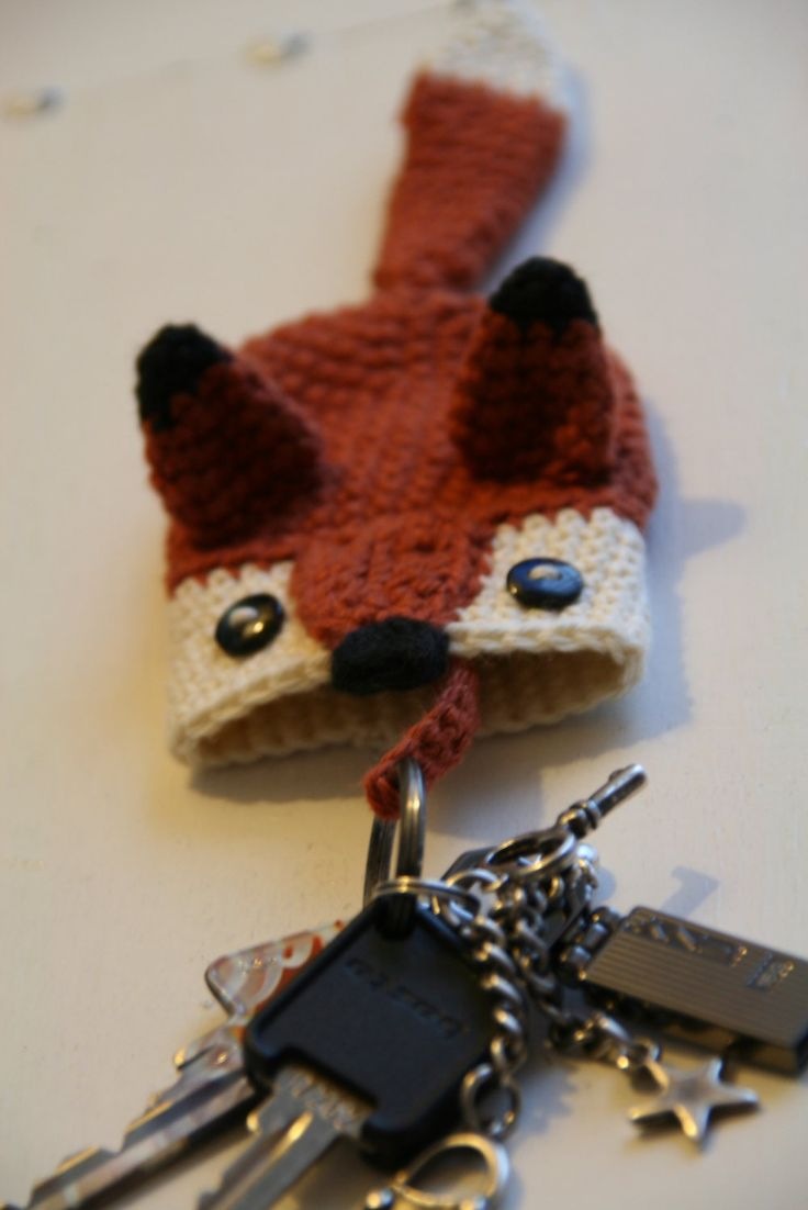 Foxy key cozy by Susanne Madsen - such a great idea so my keys don't scratch other stuff while swimming around inside my bag