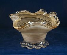 vintage ART GLASS FOOTED DISH ruffled edge ORANGE/WHITE SWIRL gold flecks on rim