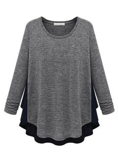 Shop Color Block Paneled T-shirt With Flounce Hem from choies.com .Free shipping Worldwide.$13.9
