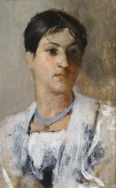 Leopold Carl Müller - Bildnis einer jungen Frau mit blauem Halsband