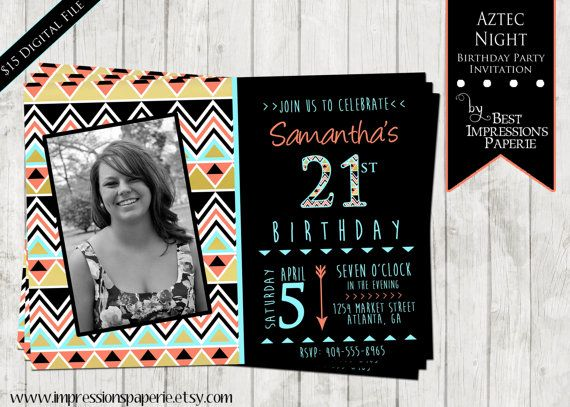 Aztec Night - A Customizable Birthday Invitation by ImpressionsPaperie on Etsy, $15.00 | Aztec Invitation | Milestone Birthday | 16th 18th 21st 30th 40th | Black Coral Gold Aqua