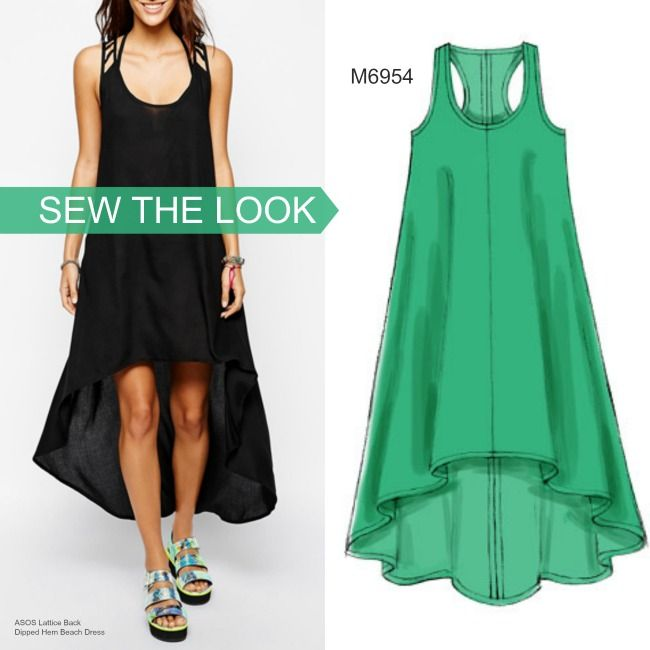 Sew the look: Make a statement with this dress pattern featuring a dramatic high-low hem. McCall's M6954.