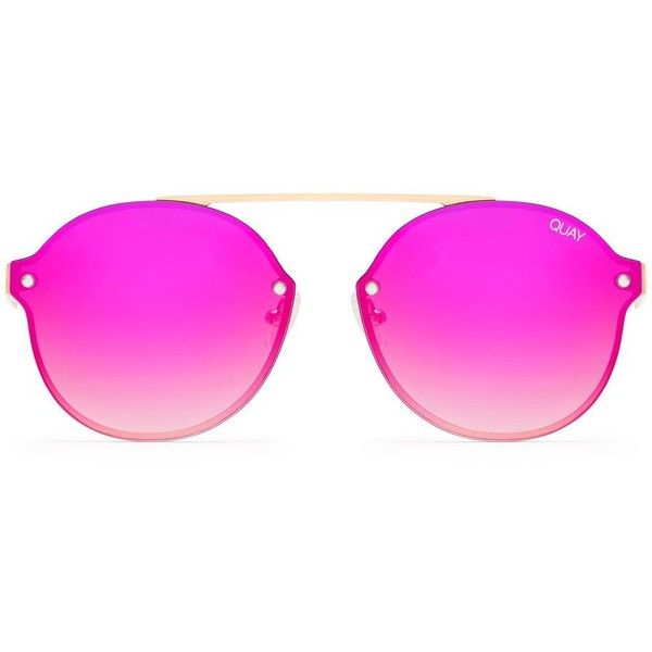 Camden Heights Sunglasses by Quay Australia (115 CAD) ❤ liked on Polyvore featuring accessories, eyewear, sunglasses, gold and topshop sunglasses