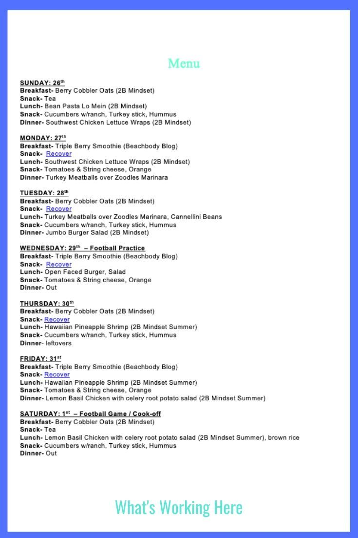 Weekly Menu 1 26 20 2b Mindset What S Working Here Meal Planning Template Weekly Menu Meal Planning Printable