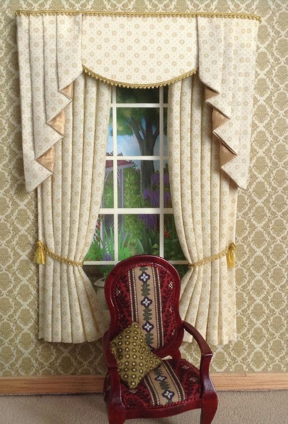 12th RED Miniature Curtains Tails For Dollhouse 5 X By Minichris