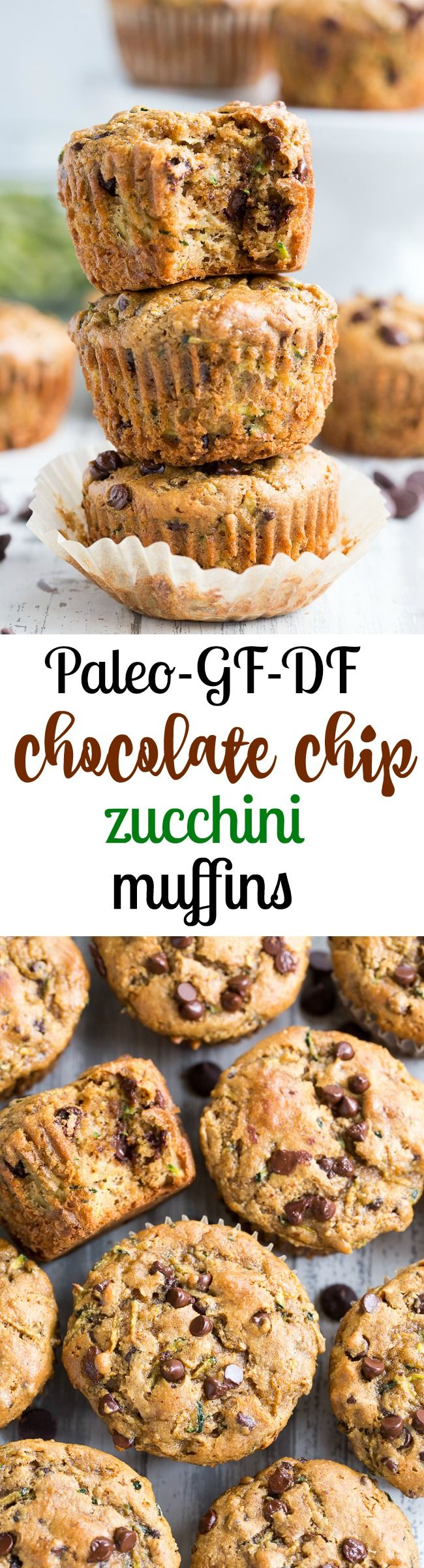 These chocolate chip zucchini muffins are seriously tasty with a soft, moist texture and the perfect amount of sweetness. They're loaded with chocolate chips and, of course zucchini - though you can't taste the veggies at all! Kid approved, easy to make, paleo, gluten-free, dairy-free.