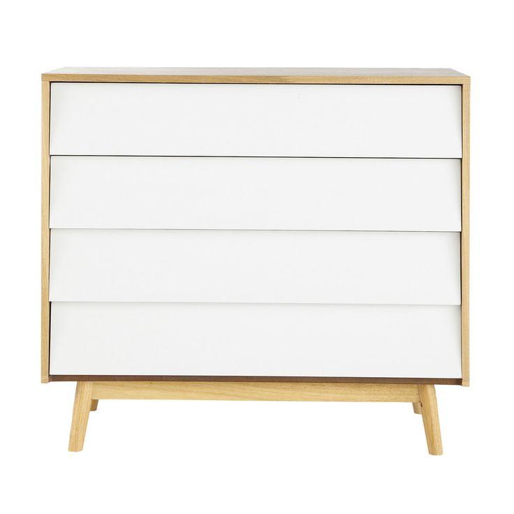 France | €199,90 Commode vintage en bois blanche L 90 cm