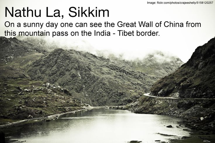 """Nathu La or the pass of """"listening ears"""" forms a part of an offshoot of the ancient Silk Road.  It connects the Indian state of Sikkim with China's Tibet Autonomous Region. On a sunny day one can see the Great Wall of China from the pass! #Sikkim 