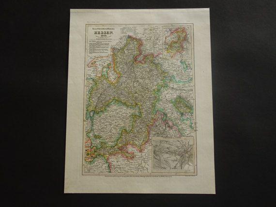 HESSEN old map of kurfürstentum Hesse-Kassel by VintageOldMaps