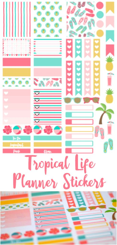 FREE printable tropical life planner stickers