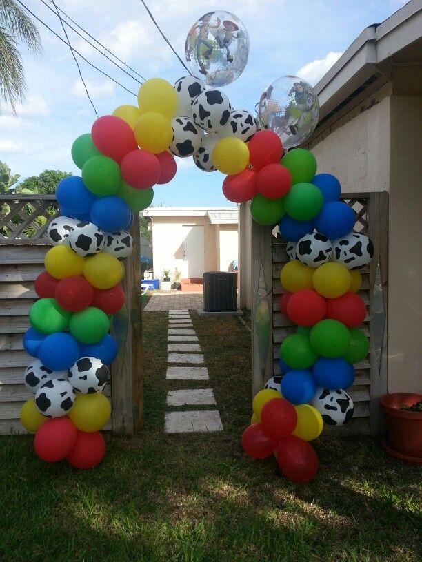 Toy story theme balloon arch