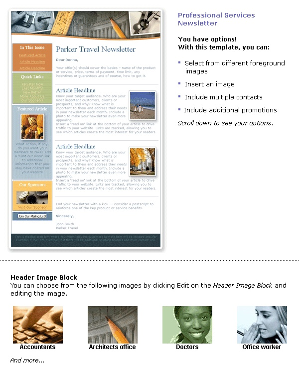 Professional Email Newsletter Template E-News Pinterest - office newsletter