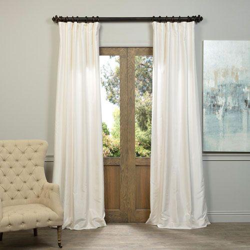Off White Vintage Textured Faux Dupioni Silk Single Panel Curtain, 50 X 108 Half Price Dra