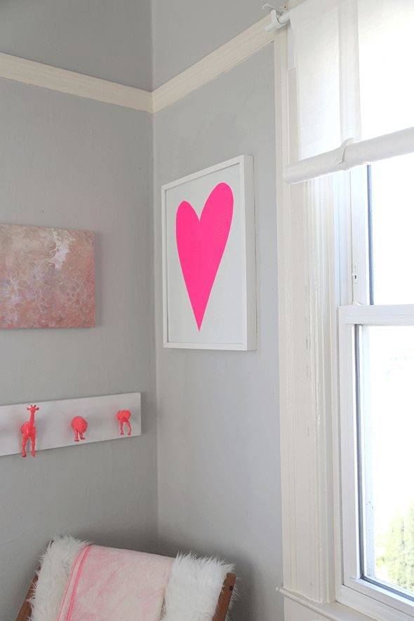 """I've seen simple, slightly lopsided heart artwork around a bit and thought """"slightly lopsided heart? I can totally do that"""". So I gave it a shot for our neutral + neon nursery (err half nursery). ..."""