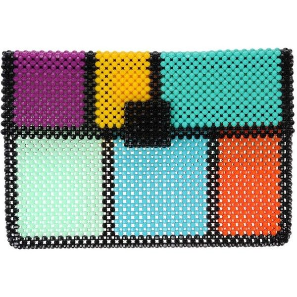 Del Ducä Handbag ($380) ❤ liked on Polyvore featuring bags, handbags, clutches, turquoise, beaded clutches, beaded purse, multi colored clutches, hand bags and man bag