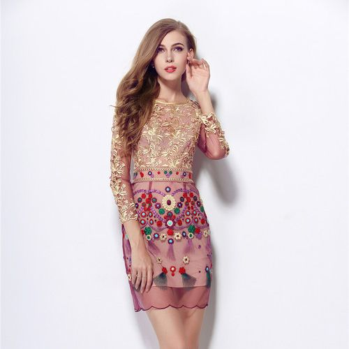 Spring and summer 2015 women new European and American big aristocratic temperament long-sleeved dress Heavy embroidered dress US $55.00 /piece   Click link to buy other product http://goo.gl/p8JMyk