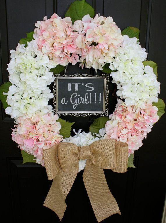 BURLAP WREATH - It's a girl Pink Hydrangea Wreath door hanger burlap wreaths spring Nursery wreath front door decoration chalkboard sign on Etsy, $95.00