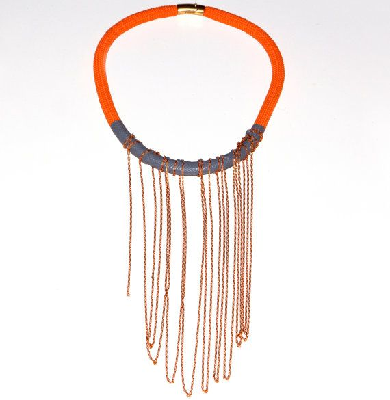 Statement Necklace with Enamel  Coated Rope and by EleannaKatsira, €45.00