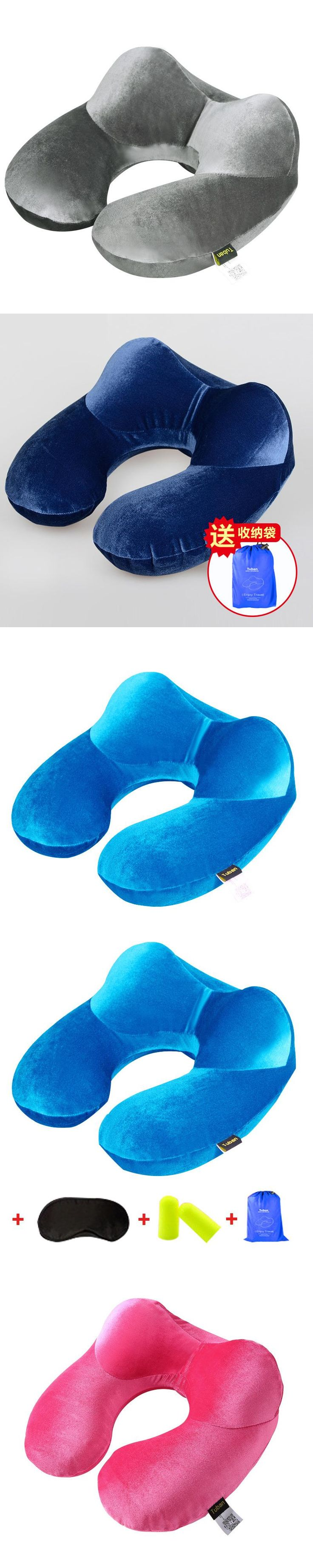 Super light U-Shape Inflatable Travel Pillow Neck Pillow Comfortable air Pillows for Sleep Airplane Earpatch+Earplug+Bag