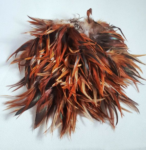 Lot of Red/Gold and Black Variegated Rooster Tail by AtticLiving