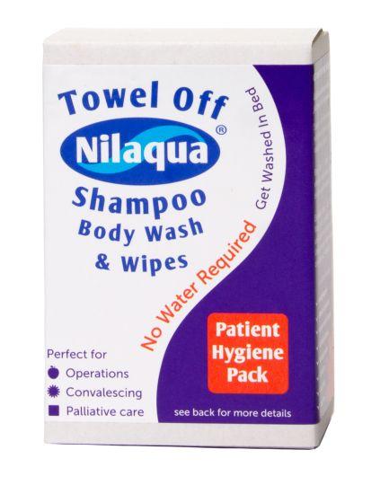 Pack Higiene Nilaqua Pack de higiene para personas con dificultad en la movilidad por razones de salud. Ideal para hospitalizaciones domiciliarias o en centros sanitarios.