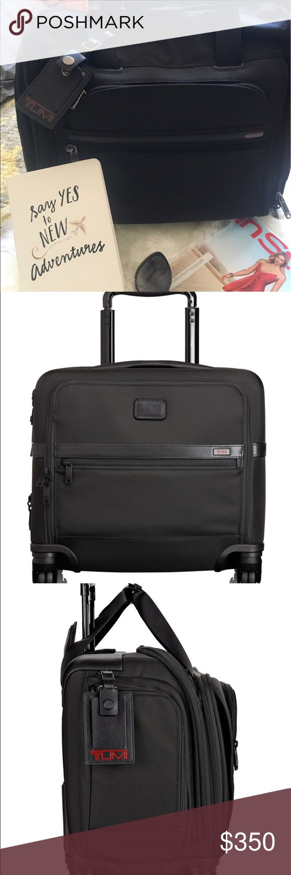 """EUC Tumi 4-wheel Compact Brief 🎉Great Price 🎉Are u looking for a timeless piece of luggage for you next business trip? This Tumi 4-Wheel Compact Brief is perfect for a carry-on luggage piece. The professional picture is the closest comparable piece. Dimensions are 19"""" long 13"""" tall and 8"""" wide. The handle expands 27"""" high. There are 2 side zipper compartments, 2 long zipper compartment on the inside with 2 inner slide pockets and 2 zipper parts on the front. Feel free to ask questions…"""