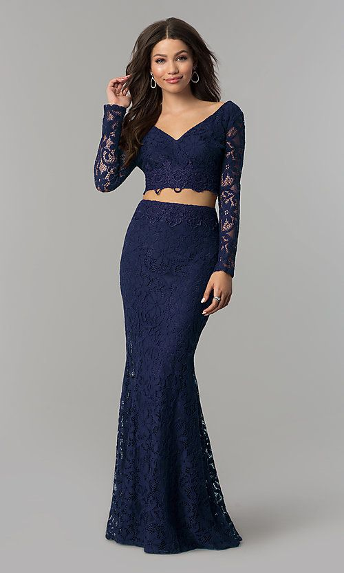 a5099b08b73 V-Neck Sleeved Two-Piece Long Prom Dress - PromGirl