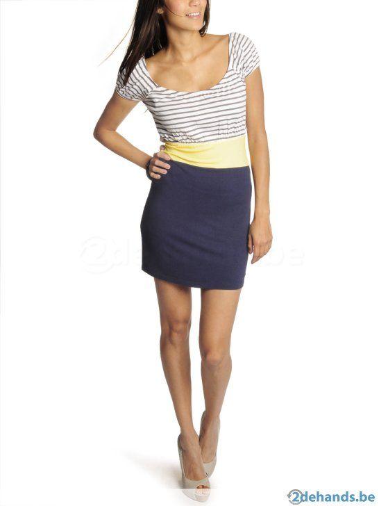 Velvet kitten - Blauw gele jurk - Maat Large - NIEUW