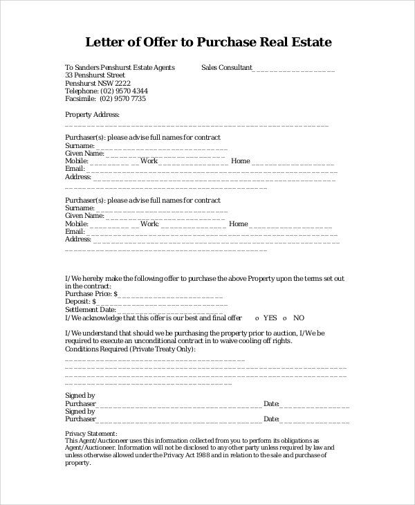 Real Estate Offer Letter Template Real Estate Contract Letter Templates Contract Template